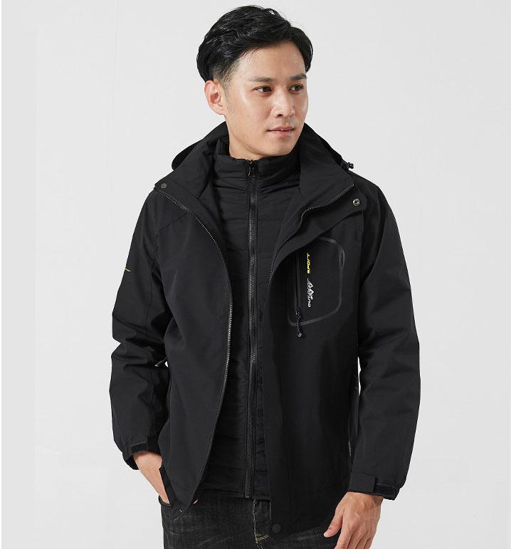 白鸭绒冬季新款户外三合一冲锋衣男两件套防寒