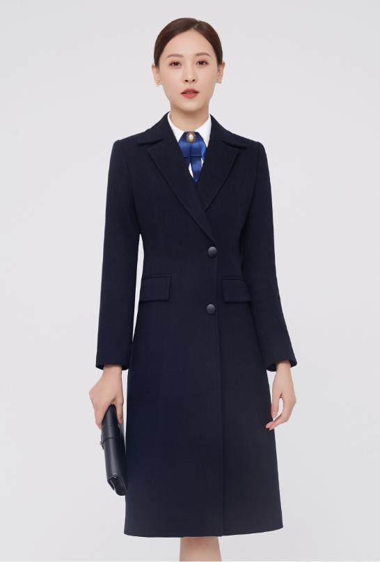 物业前台职业装呢子大衣毛呢大衣女