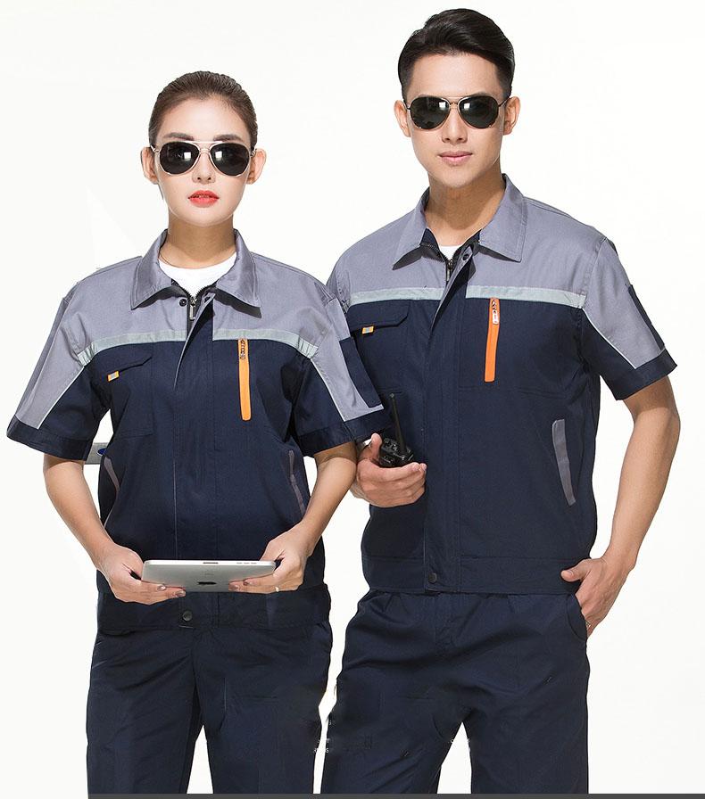 郑州夏季工作服套装男薄款夏天透气短袖